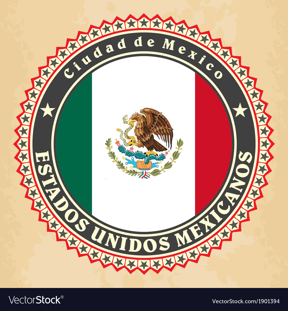 Vintage label cards of mexico flag vector | Price: 1 Credit (USD $1)