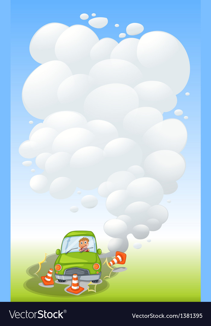 A green car in an accident with smoke vector | Price: 1 Credit (USD $1)