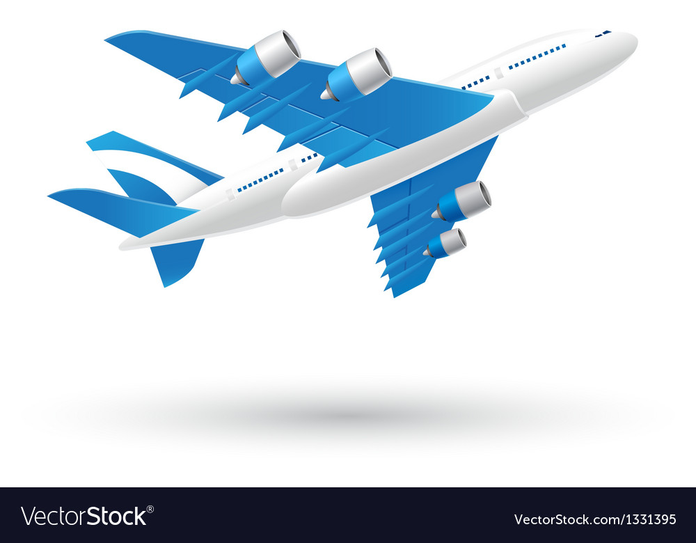 Blue and white airplane business icon vector | Price: 3 Credit (USD $3)