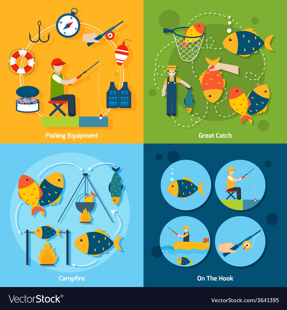 Fishing flat set vector | Price: 1 Credit (USD $1)