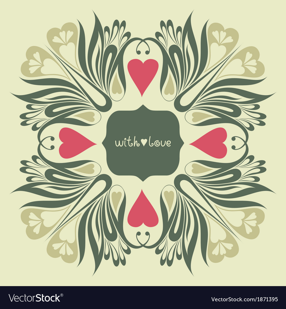 Floral ornate background with love vector | Price: 1 Credit (USD $1)
