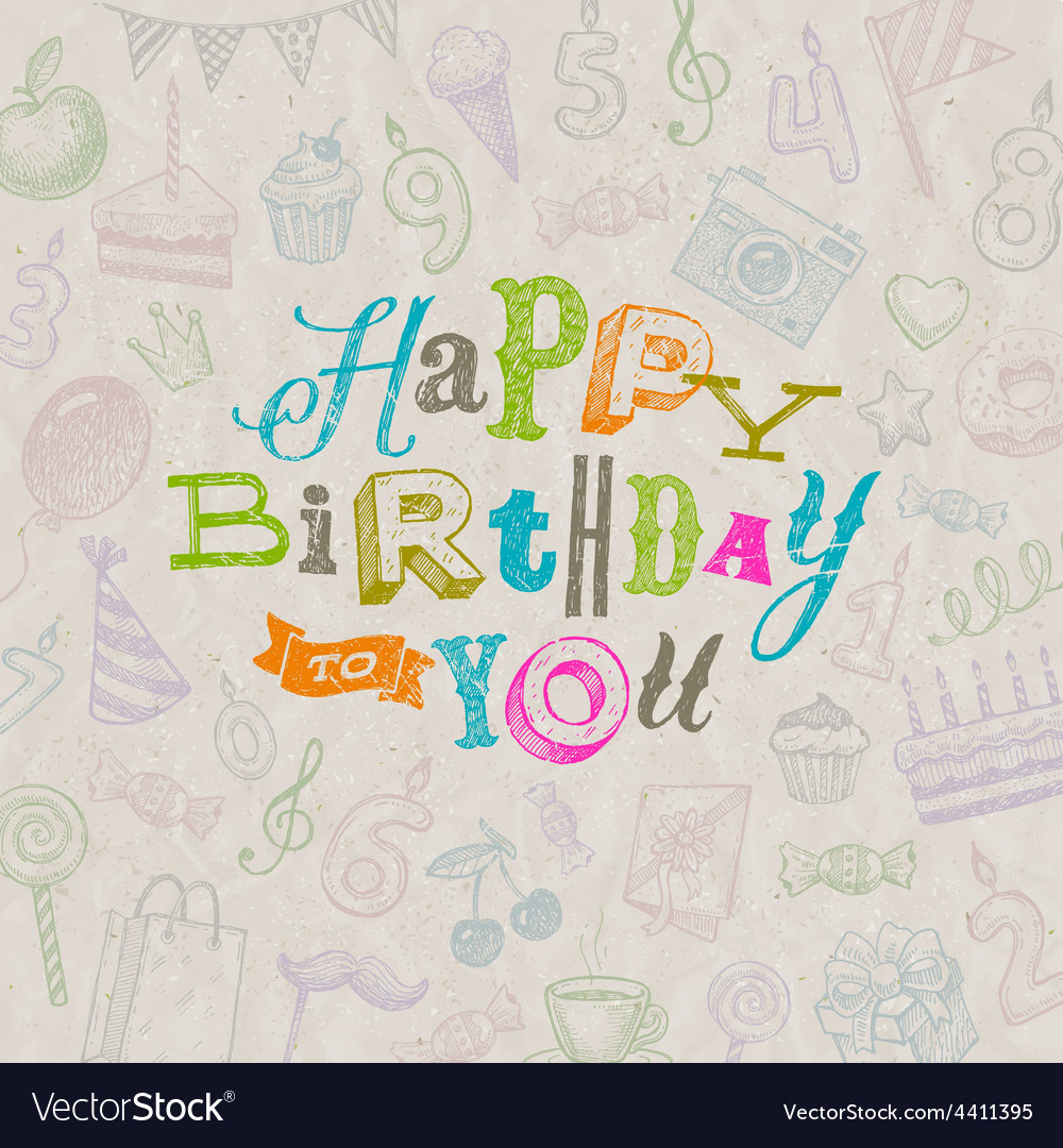 Hand drawn happy birthday greeting card vector | Price: 1 Credit (USD $1)