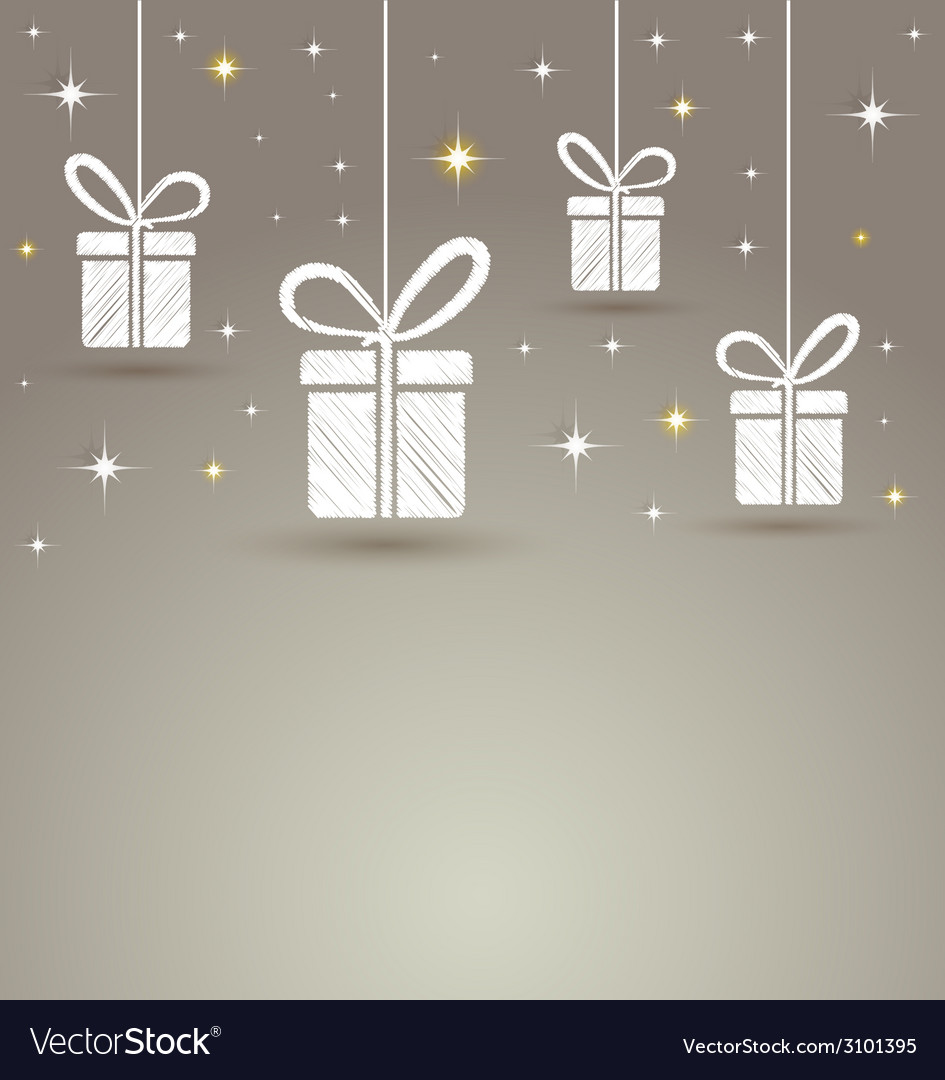Holidays paper gift box with star lights vector | Price: 1 Credit (USD $1)