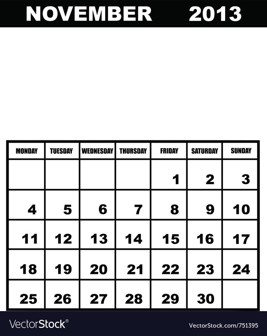 November calendar 2013 vector | Price: 1 Credit (USD $1)