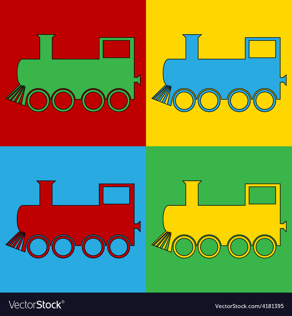 Pop art locomotive icons vector | Price: 1 Credit (USD $1)