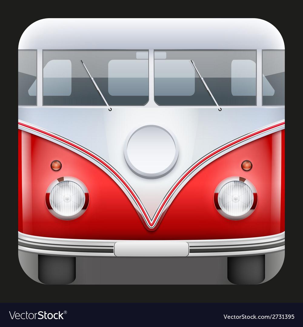 Square icon popular bus classic camper van vector | Price: 1 Credit (USD $1)