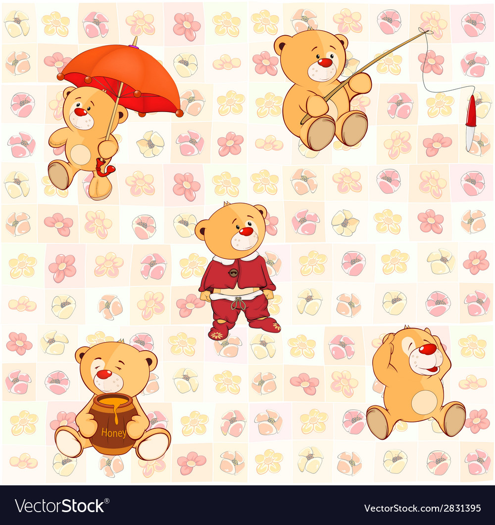 Wallpaper with stuffed bear cubs3 vector | Price: 1 Credit (USD $1)