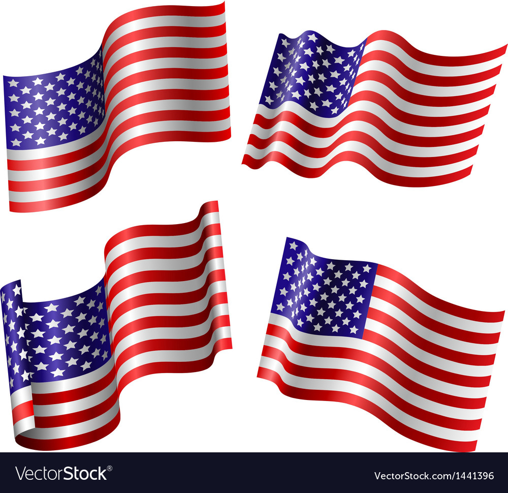 American flag set vector | Price: 1 Credit (USD $1)