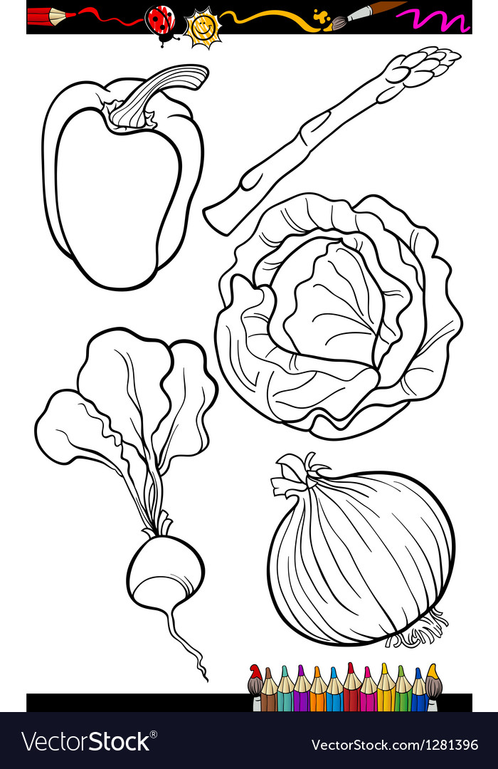 Cartoon vegetables set for coloring book vector | Price: 1 Credit (USD $1)