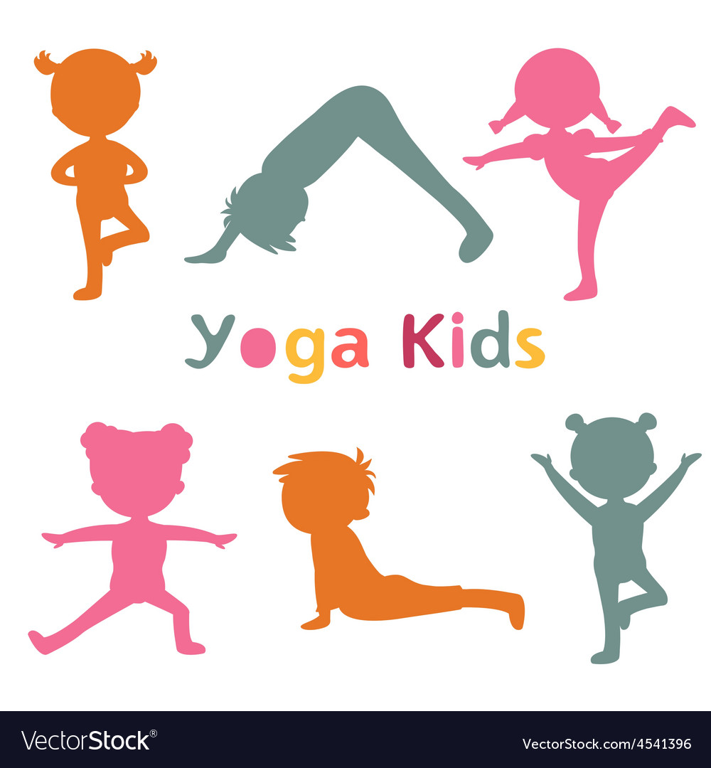 Cute yoga kids silhouettes vector | Price: 1 Credit (USD $1)