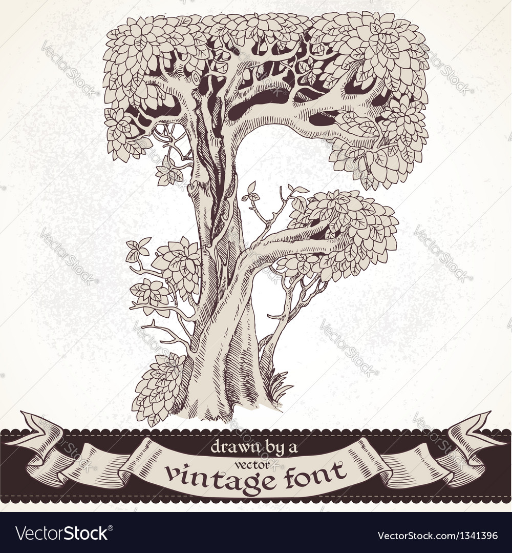 Fable forest hand drawn by a vintage font - f vector | Price: 1 Credit (USD $1)
