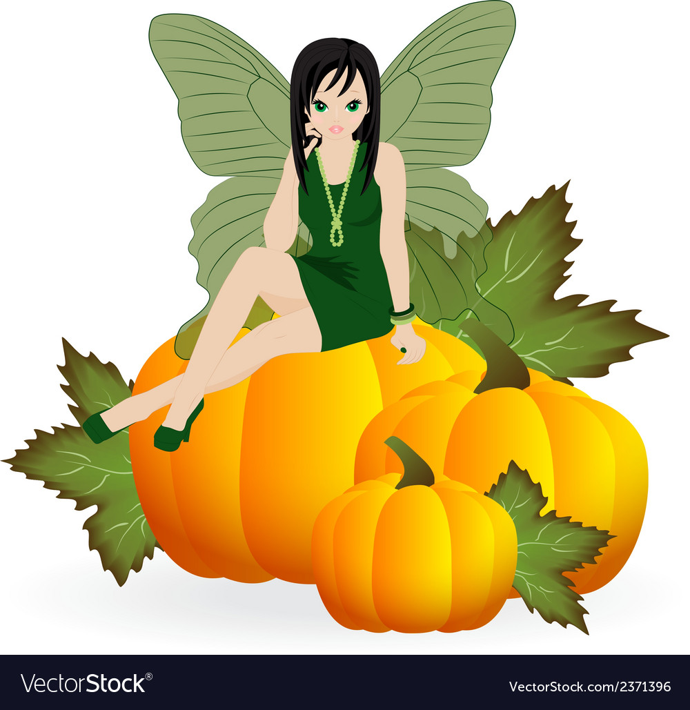 Fairy on a pumpkin vector | Price: 1 Credit (USD $1)
