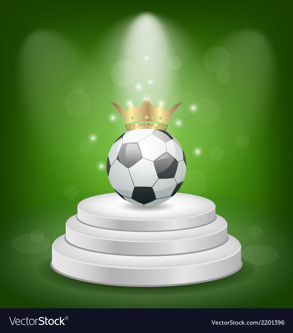Football ball with golden crown on white podium vector | Price: 1 Credit (USD $1)