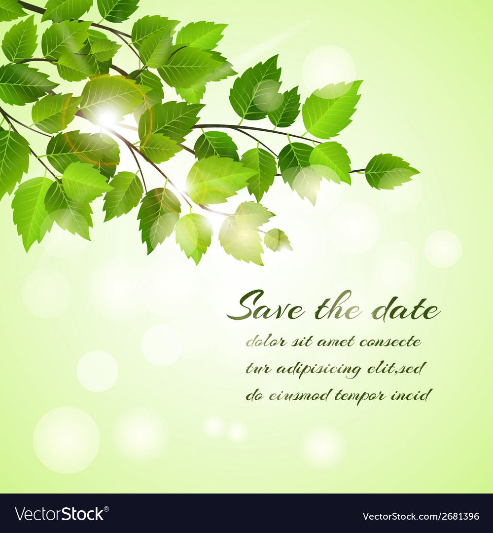 Fresh spring save the date card vector | Price: 1 Credit (USD $1)