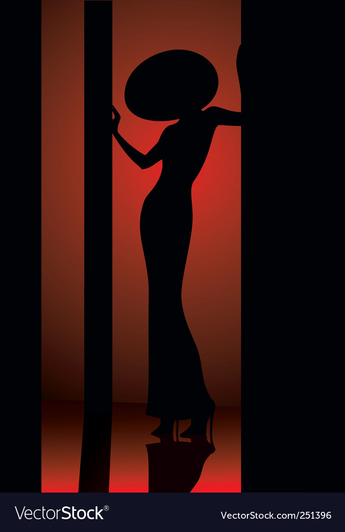 Lady in hat silhouette vector