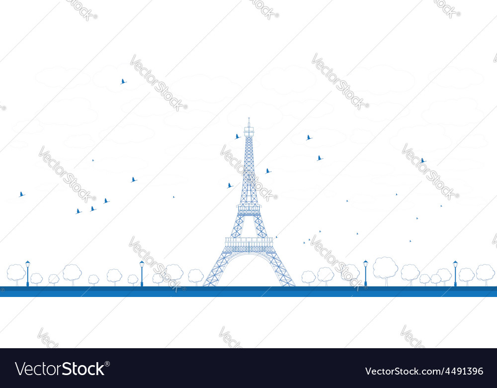 Outline eiffel tower vector | Price: 1 Credit (USD $1)