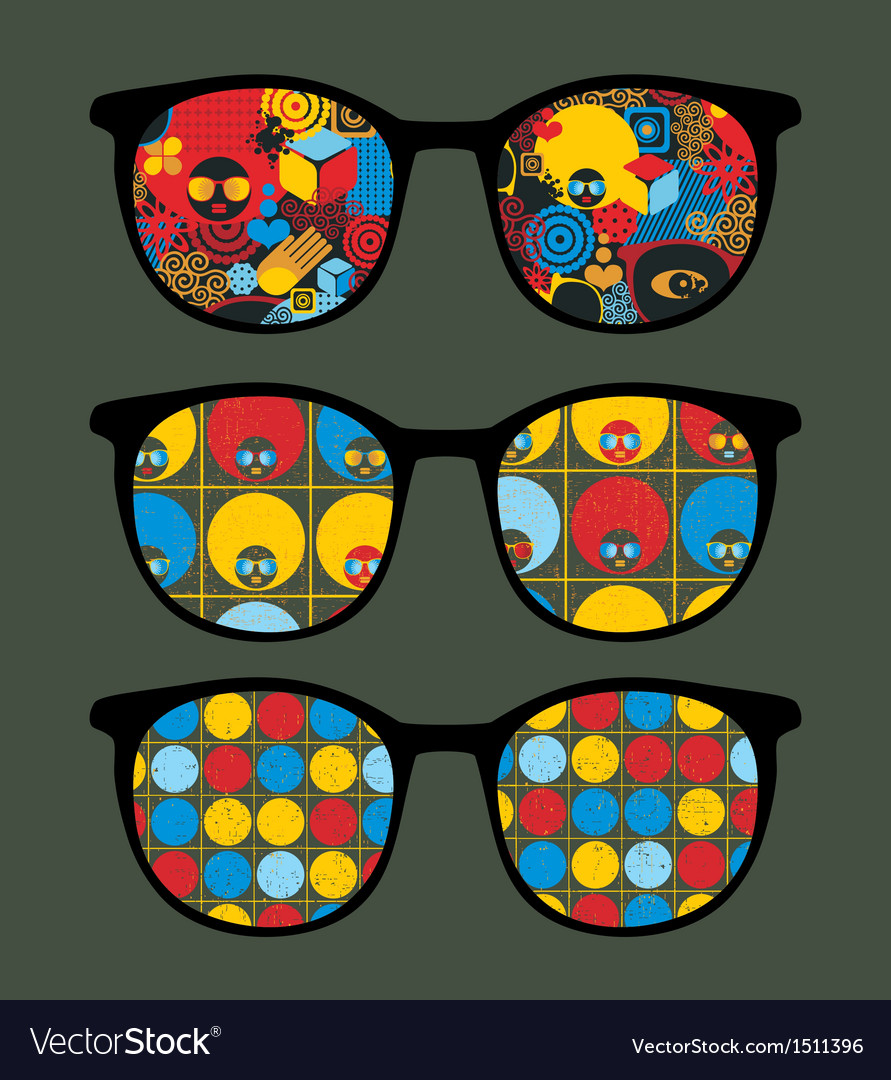 Retro sunglasses with cool summer reflection vector | Price: 1 Credit (USD $1)