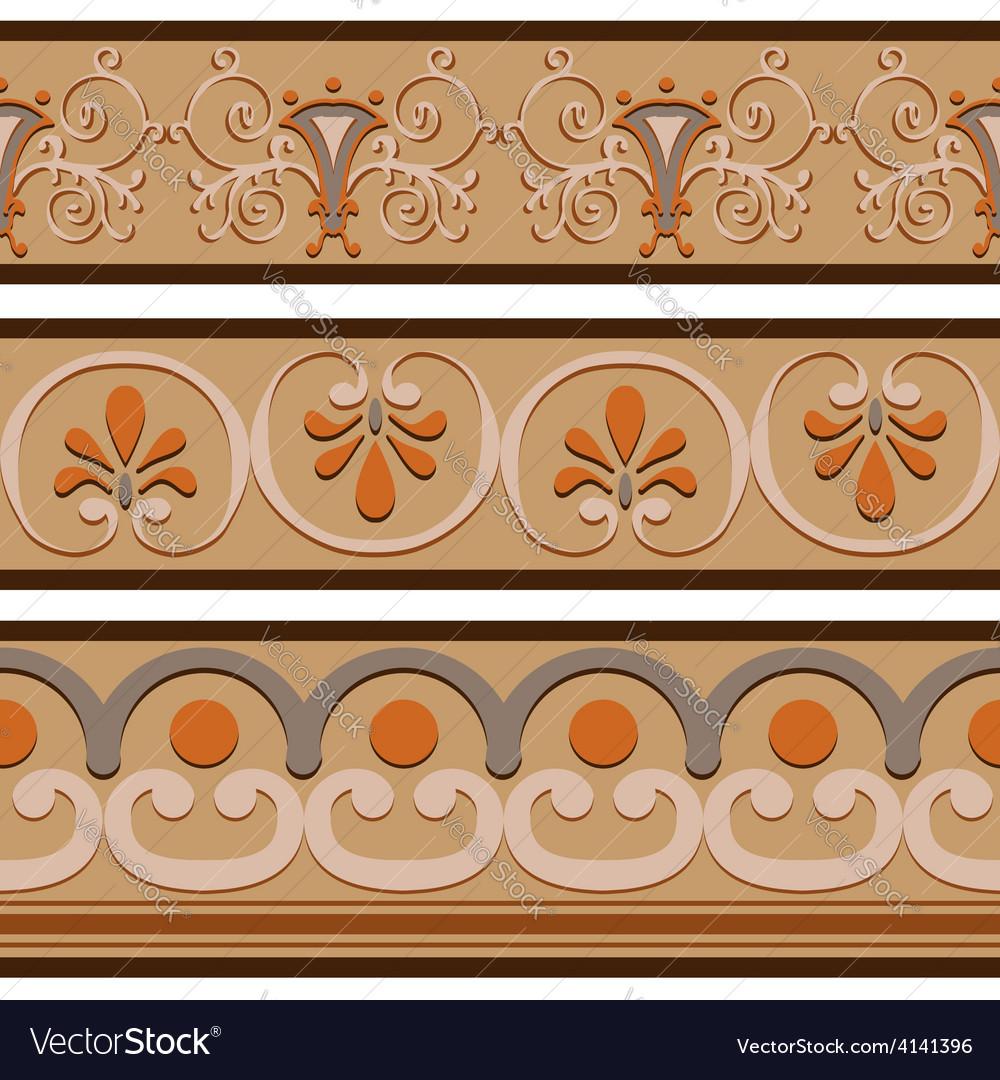 Set of ancient roman ornaments border patterns vector | Price: 1 Credit (USD $1)