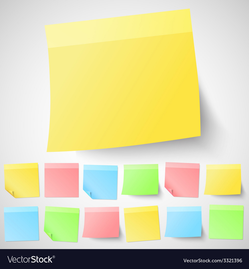 Set of isolated adhesive sticky notes different vector | Price: 1 Credit (USD $1)