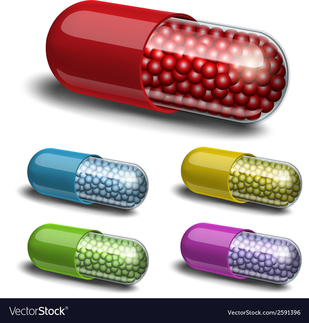 Set of medical capsule with granules vector | Price: 1 Credit (USD $1)