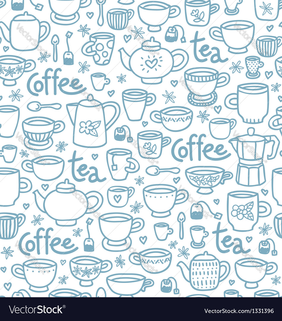 Tea and coffee pattern vector | Price: 1 Credit (USD $1)