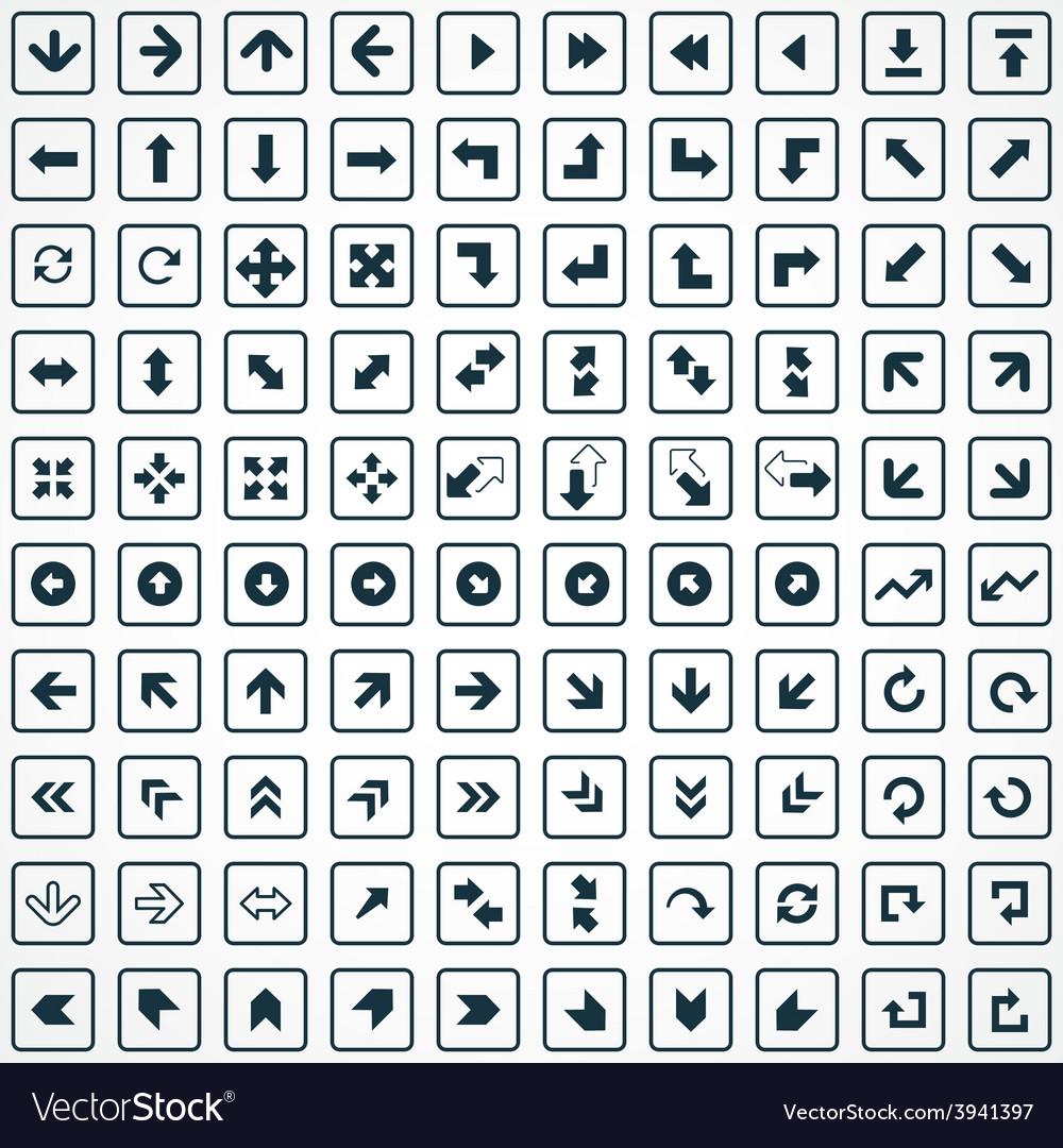 100 arrows icons set vector | Price: 1 Credit (USD $1)