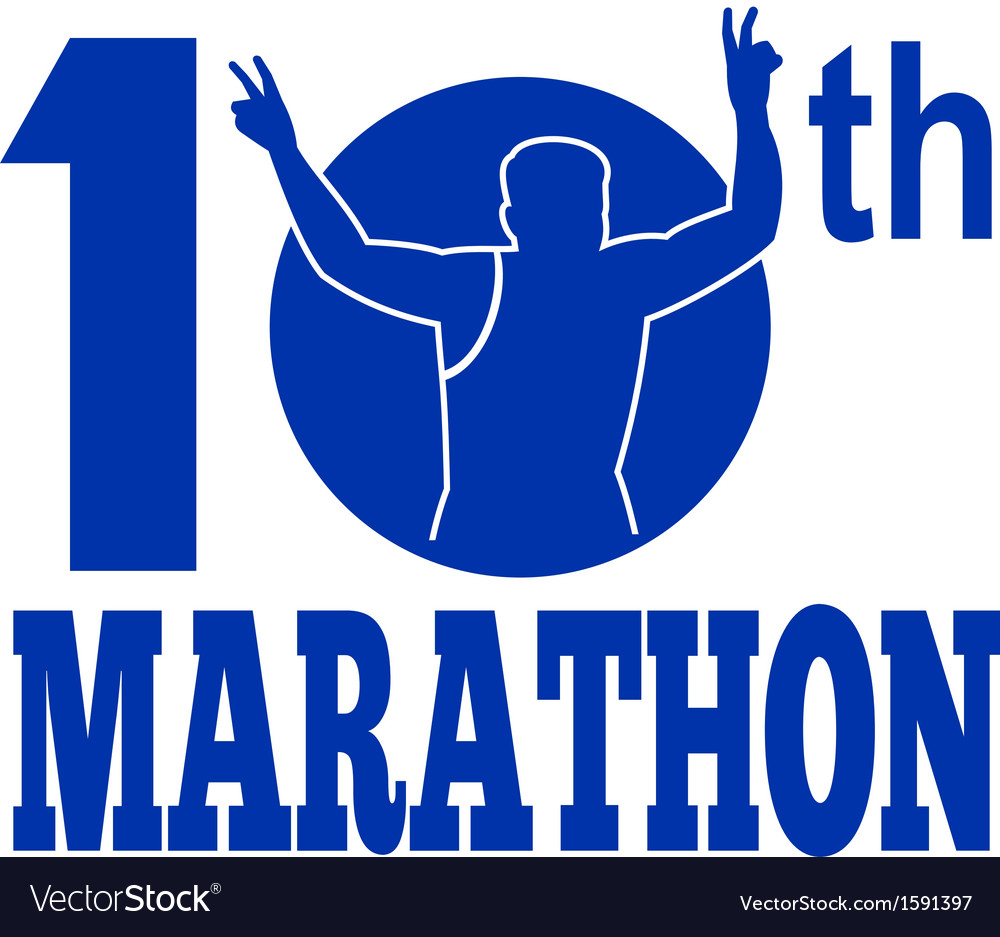 10th marathon run race runner vector | Price: 1 Credit (USD $1)