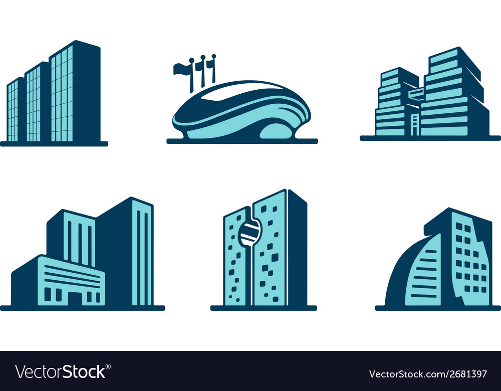 3d building icons set vector   Price: 1 Credit (USD $1)