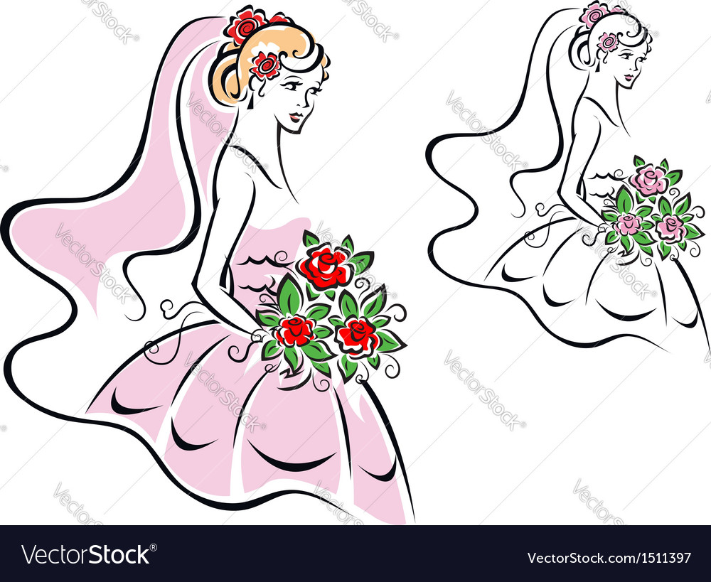 Beautiful woman in bridal dress vector | Price: 1 Credit (USD $1)