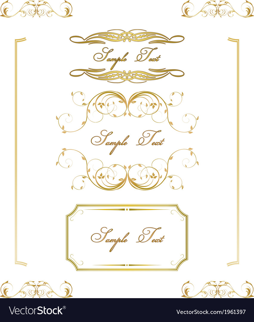 Calligraphic frame border label design elements vector | Price: 1 Credit (USD $1)