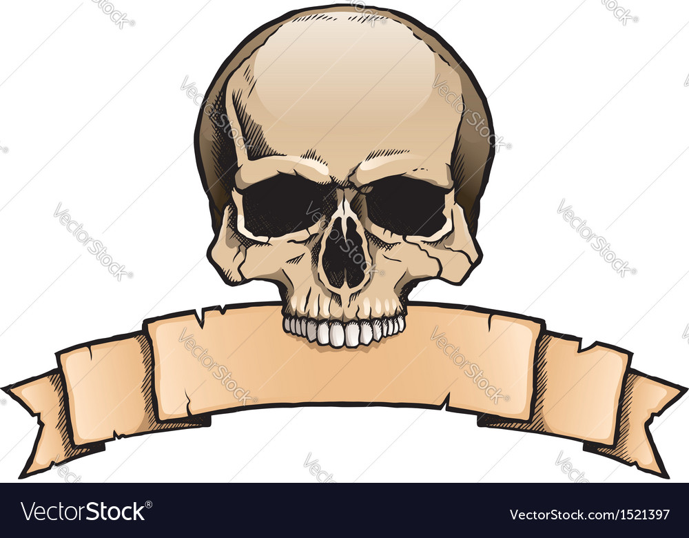 Colored human skull with ribbon banner vector | Price: 1 Credit (USD $1)