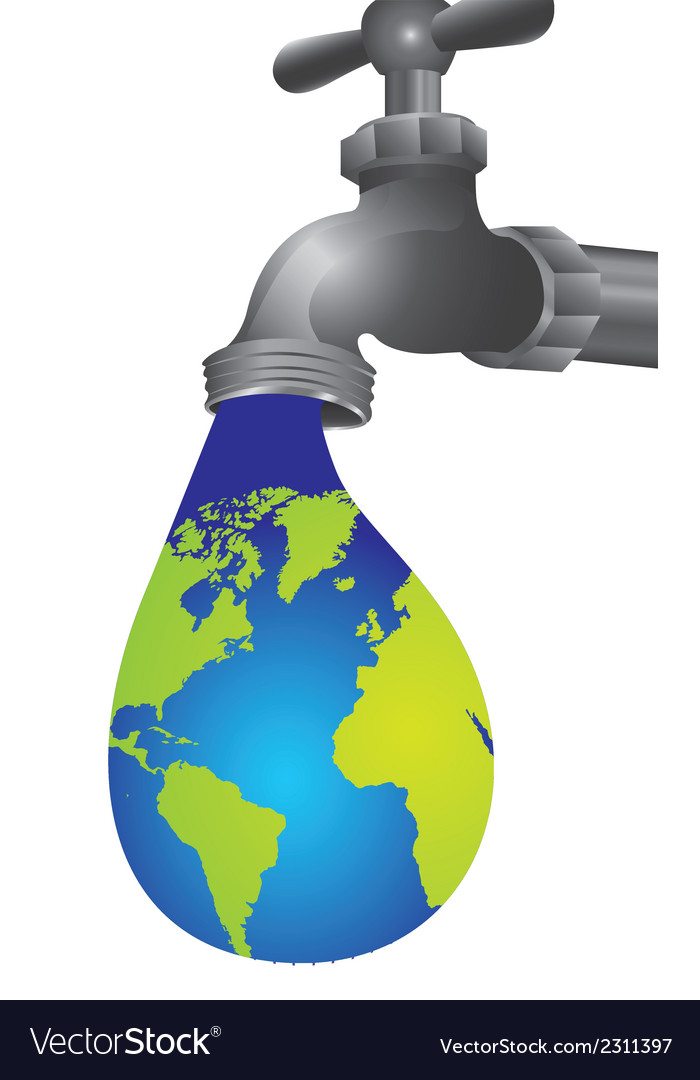 Conceptual of leaking tap in the shape of earth vector | Price: 1 Credit (USD $1)