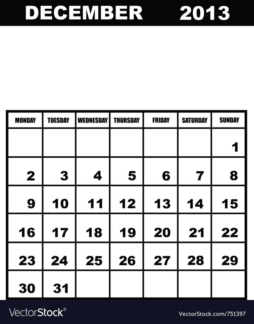 December calendar 2013 vector | Price: 1 Credit (USD $1)