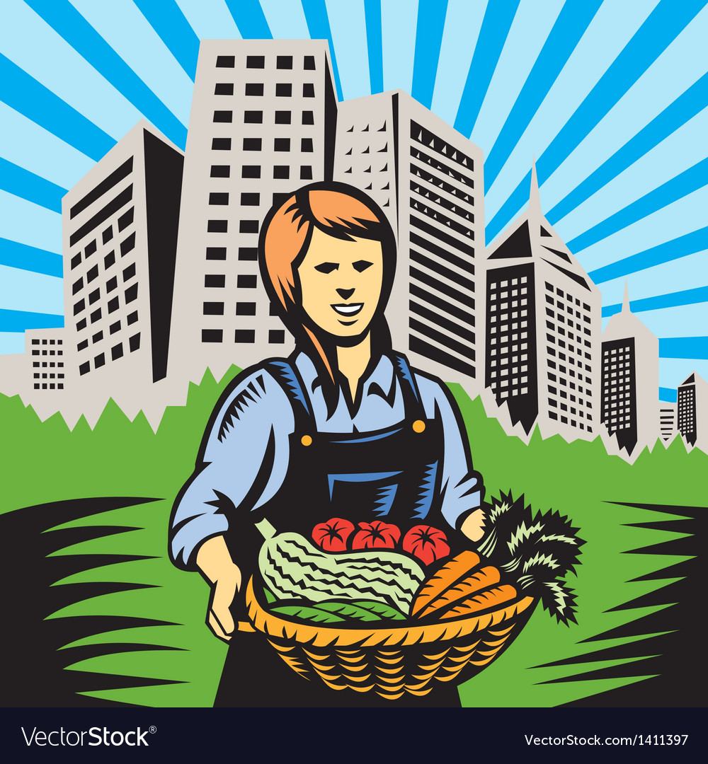 Female organic farmer harvest building retro vector | Price: 1 Credit (USD $1)