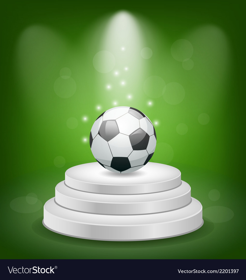 Football ball on white podium with light vector | Price: 1 Credit (USD $1)