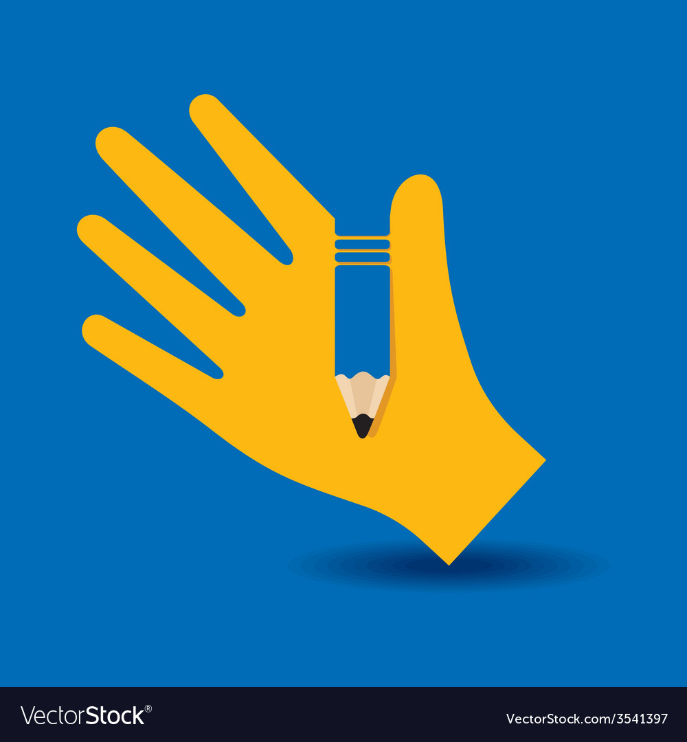 Human hand with pencil symbol concept vector | Price: 1 Credit (USD $1)