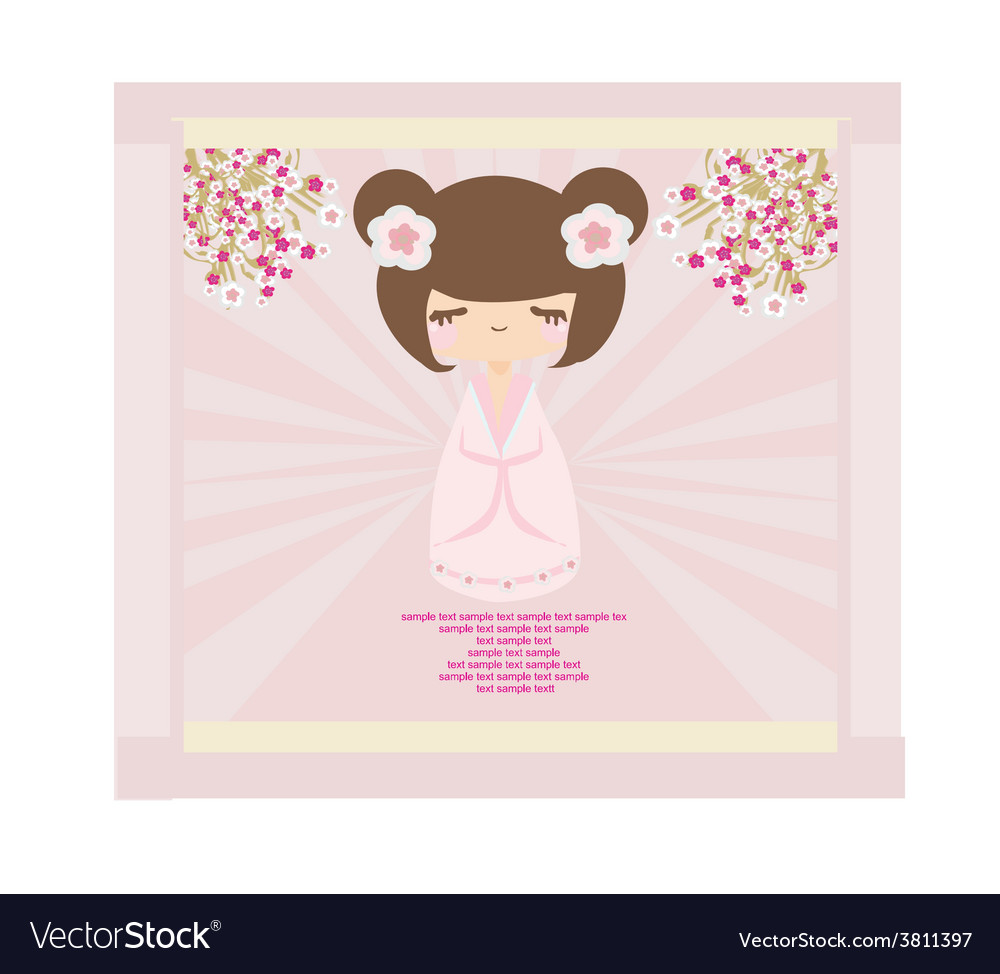 Kokeshi doll on the pink background with floral vector   Price: 1 Credit (USD $1)