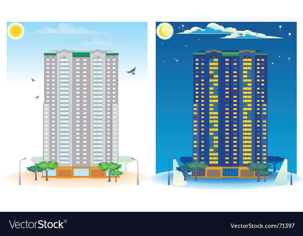 Multistoried house day and night vector | Price: 3 Credit (USD $3)