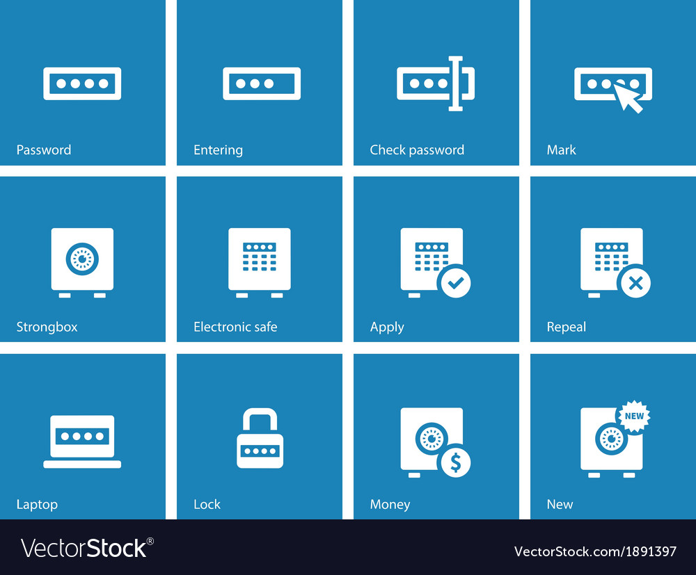 Password icons on blue background vector | Price: 1 Credit (USD $1)