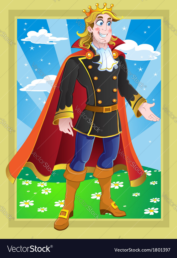Prince on the fairytale landscape vector | Price: 3 Credit (USD $3)