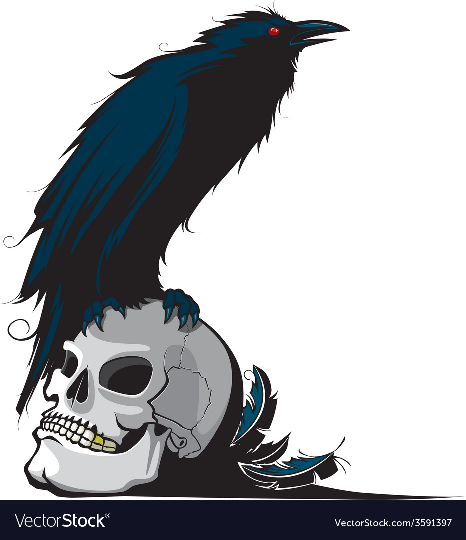 Raven and skull vector | Price: 1 Credit (USD $1)