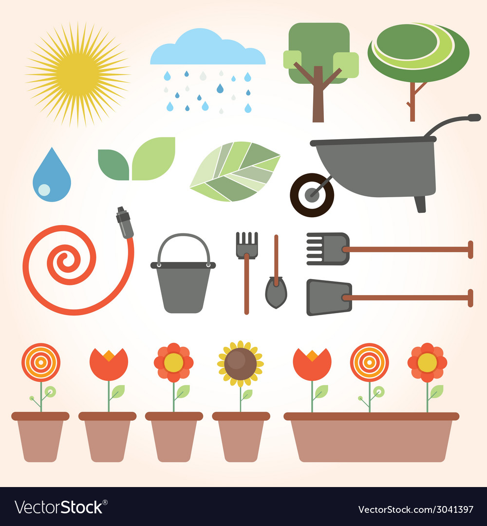 Set of flat gardening icons vector | Price: 1 Credit (USD $1)