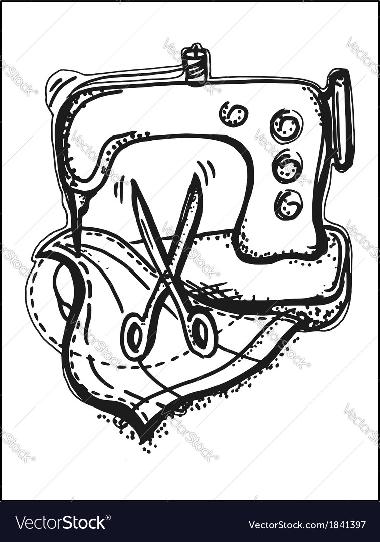 Sewing on a sewing machine vector | Price: 1 Credit (USD $1)