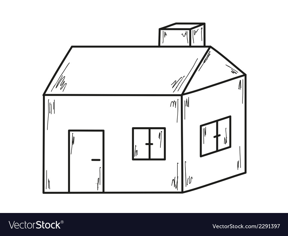 Sketch of the small house vector | Price: 1 Credit (USD $1)