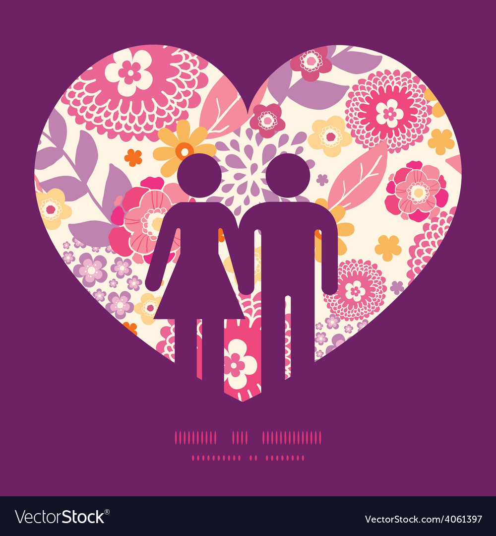 Warm summer plants couple in love vector | Price: 1 Credit (USD $1)