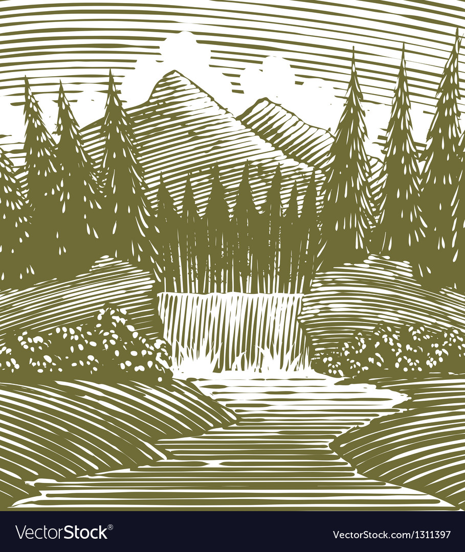 Woodcut waterfall wilderness vector | Price: 1 Credit (USD $1)