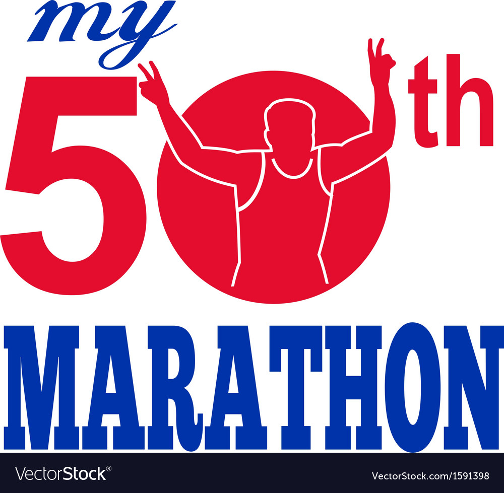 50th marathon run race runner vector | Price: 1 Credit (USD $1)
