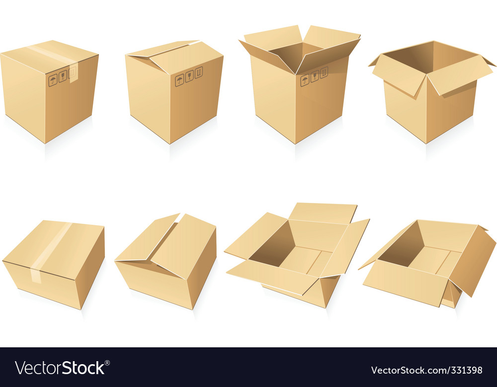 Blank cardboard boxes vector | Price: 1 Credit (USD $1)