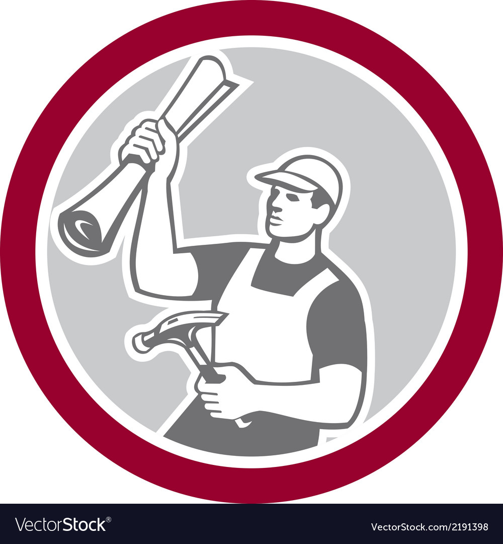 Builder carpenter holding hammer building plan vector | Price: 1 Credit (USD $1)
