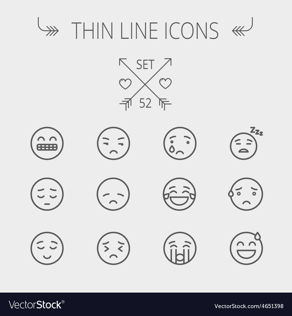 Emoji thin line icon set vector
